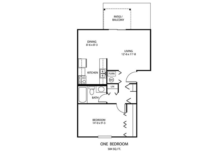 1 BDR Floorplan | Windridge Apartments | Madison, Indiana