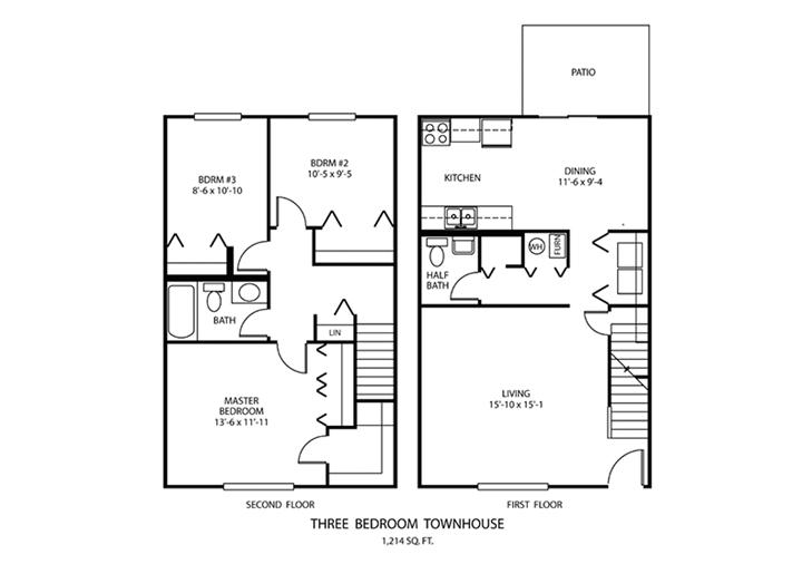 3 BDR Townhouse Floorplan | Windridge Apartments | Madison, Indiana