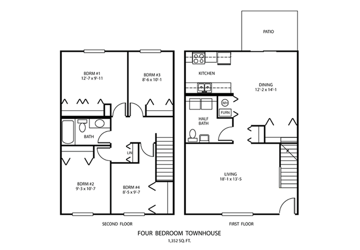4 BDR Townhouse Floorplan | Windridge Apartments | Madison, Indiana