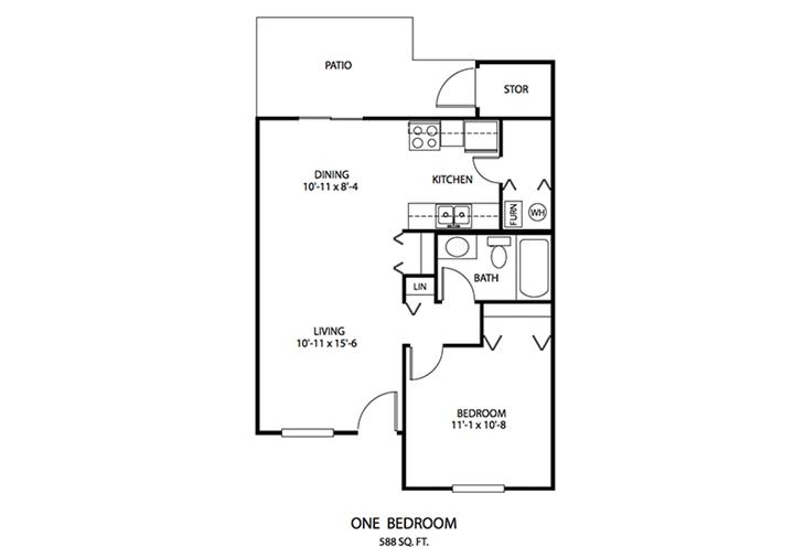 1 BDR Floor plan, Cedar Run Apartments | Brownsburg, Indiana