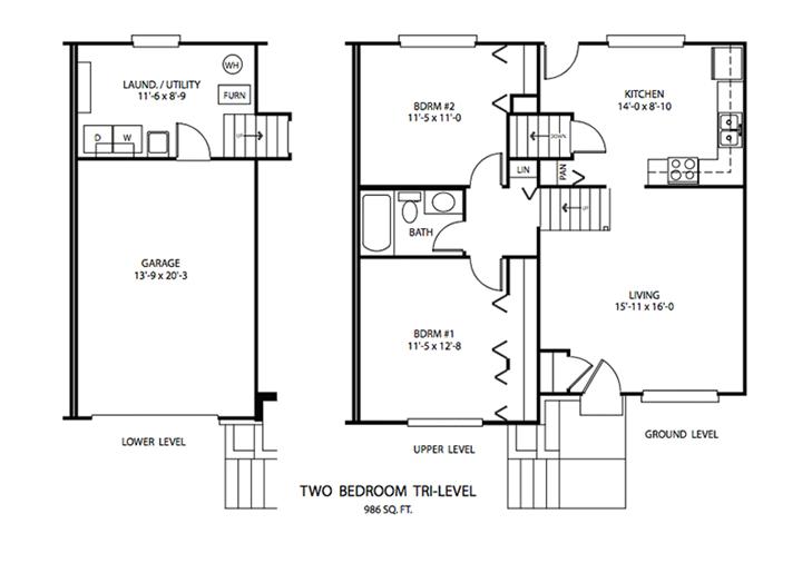 2 BDR Tri-level Floor plan, Cedar Run Apartments | Brownsburg, Indiana