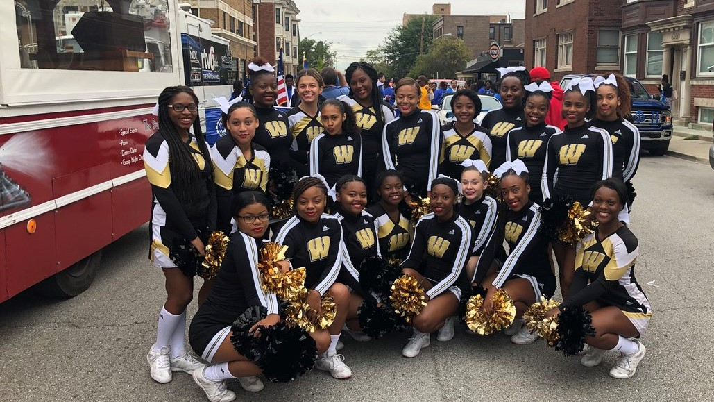 Cheerleaders Perform in the Circle City Classic Parade