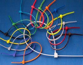 A variety of colors of standard cable ties