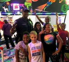 Brookview students and officer